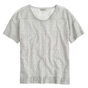 J. Crew Tops - J. Crew Eyelet T-Shirt in Grey and White - Medium